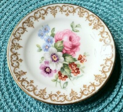 Vintage Staffordshire Fine Bone China England's Bouquet Butter Pat 3 3/4 inches