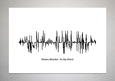 Shawn Mendes - In My Blood - Sound Wave Print Poster Art