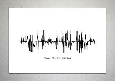 Shawn Mendes - Stitches - Sound Wave Print Poster Art