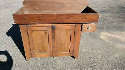 Antique Rustic Dry Sink Cabinet Hanging Drawer Country Primitive Storage