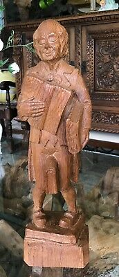 Black Forest Style Not Anri Hand Carved Wooden Figure-The Bookworm /Librarian