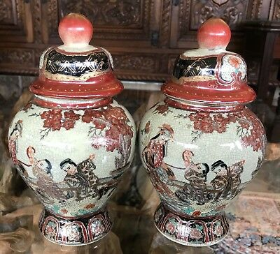 A Pair of Vintage Chinese/Japanese/Oriental Style Temple Jars Origin Unknown