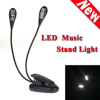 Clip Reading  Lamp 2 Arms Light Dual Flexible Arms Book Music Stand Light