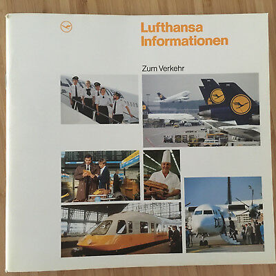 Lufthansa Airlines Profile Services Brochure 1990 Dc10 B747 A300 B737 Route Map