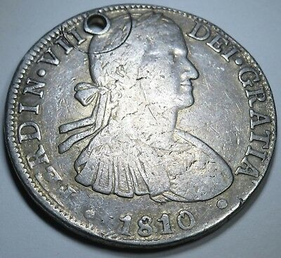 1810 HJ Spanish Silver 8 Reales Eight Real Colonial Dollar Pirate Treasure Coin