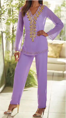 Ashro Lavender Purple Beaded Dress Neri Pant Set Holiday Party XL 1X 2X 3X PLUS