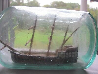 Fully Intact Sailing Ship In A Bottle Or Jar With Beautiful Paint And Details!!