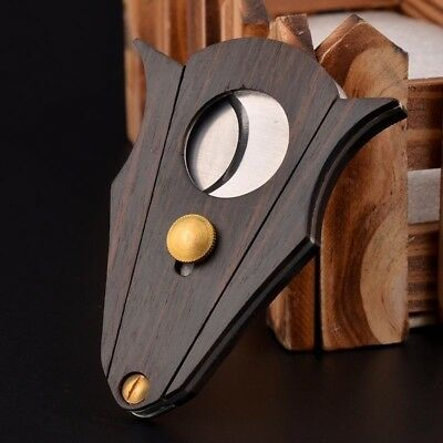 COHIBA Wood Stainless Steel Cigar Cutter Pocket Double Blades Ring Gauge Knife
