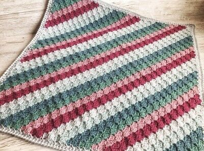 Unique Handmade Baby Striped Crochet Knitted Blanket, Throw - Vintage Shades