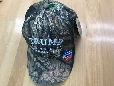 TRUMP NO BULL $HIT Donald Trump Cap Mossy Oak with Free TRUMP 2020 Pin/Button