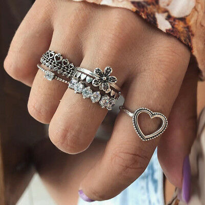 Ancient Silver Boho Vintage Stack Plain Above Knuckle Ring Midi Finger Rings G