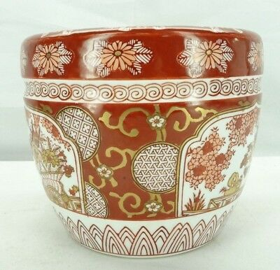 GOLD IMARI Hand Painted Vintage Porcelain Japanese Planter Pot T2
