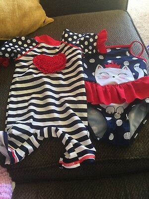Two girls swimsuits  3/6 Months
