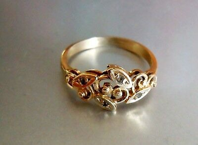 rare imperial RUSSIAN 56 GOLD Ring with Diamonds  AH workmaster by FABERGE