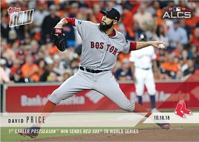 2018 Topps NOW MLB 912 David Price Postseason Win Sends Red Sox to World Series