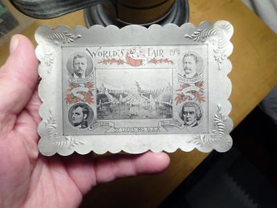 Estate ATTIC Find-1904 St. Louis WORLD'S FAIR TIP TRAY Roosevelt Napoleon VG