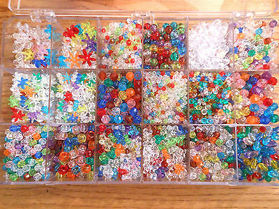 Lot of Assorted Mixed Plastic Beads w Organizer Shapes Colors Pony Flower Star