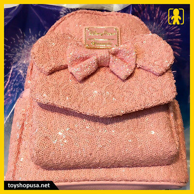 Disney Parks Loungefly Minnie Millennial Pink Sequined Backpack New In Hand
