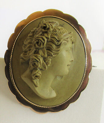 Antique Victorian Lava Cameo 9ct Rose Gold Lady With Flowers Brooch High Relief