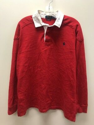 Vintage Polo Ralph Lauren Long Sleeve Rugby Casual Shirt Size XL Red