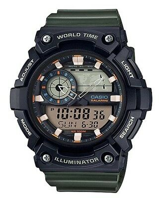 Casio AEQ200W-3AV, Digital/Analog Combo, 5 Alarms, World Time, Resin Strap