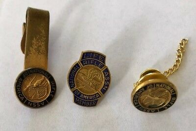 3 NRA National Rifle Association Lapel Hat Pin, Life Member Pin, Tie  Clip VTG