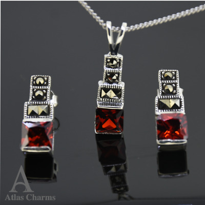 Set 925 Sterling Silver Garnet Earrings Necklace Marcasite Wedding Gift Boxes
