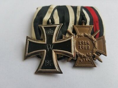 WWI-WW1 Imperial Medal Bar with 1914 Iron Cross 2nd Class and Honor Cross