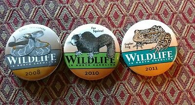 2008 2010 and 2011 Wildlife in North Carolina state fair pinback buttons