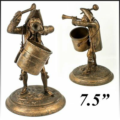 """Antique French Figural Match Holder, 7.5"""" Revolutionary Soldier, Bugle and Spoon"""