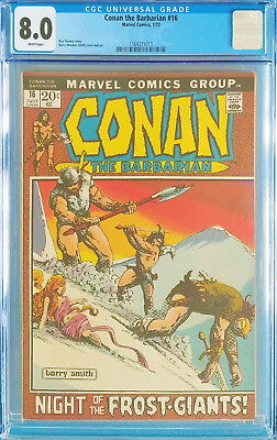 Conan the Barbarian #16 CGC 8.0 WHITE pages 1972