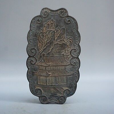 Chinese Exquisite Handmade courtyard landscape pattern Ink stone statue