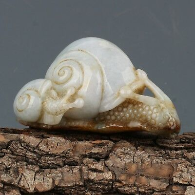 Chinese Exquisite Hand carved snails Carving jadeite jade statue