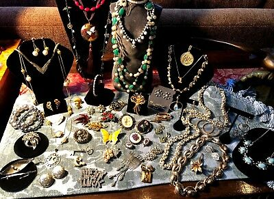 Lot 50 Pieces Antique & Vintage Jewelry Items 15 Signed Sterling Hattie Carnegie