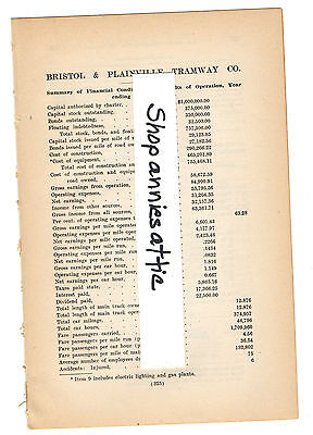1909 CONNECTICUT train report BRISTOL & PLAINVILLE TRAMWAY Terryville CT trolley