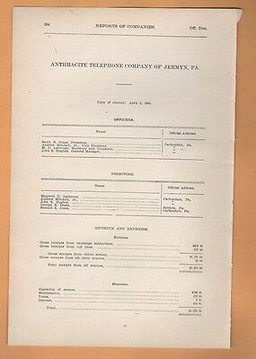 1906 annual report of ANTHRACITE TELEPHONE COMPANY OF JERMYN PA Pennsylvania