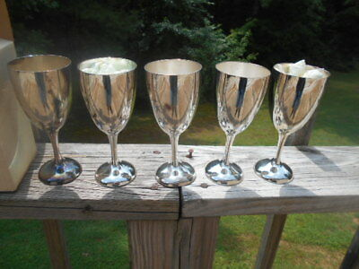 Set of 5 New Silver Plated Water Goblets by International Silver Co. C-132901