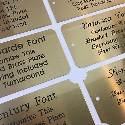 3x5  Engraved Solid Brushed Brass Plate Custom Personalized Plaque Trophy Sign