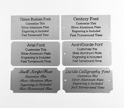 2x4 Laser Engraved Silver Aluminum Plate Custom Personalized Plaque Trophy Sign