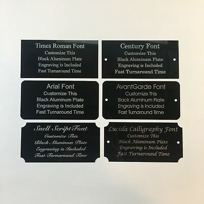 2x4 Laser Engraved Black Aluminum Plate Custom Personalized Plaque Trophy Sign