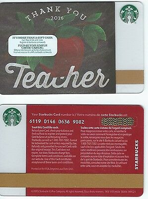2016 Starbucks THANK YOU TEACHERS CANADA RELOADABLE GIFT CARD