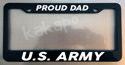 PROUD DAD US ARMY Glossy Black License Plate Frame Screw Caps