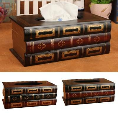 Tissue Box Cover Hand Crafted Antique Book Wooden Dispenser Paper Case Holder