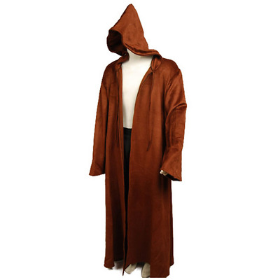 70b576b432 Star Wars Brown Sith Jedi Robe Wool Cloak obi wan Kenobi Hooded Cosplay  Costume