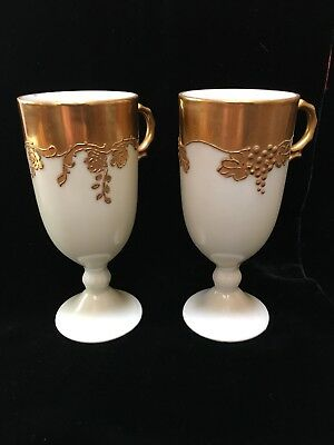 Set Of 2 Antique Milk Glass Goblets Mugs With Handles And Gilt Decoration