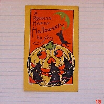 Halloween Vintage Postcard.. WalL 9101.. Dancing Witches Jack O'Lantern Cat