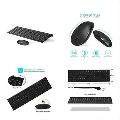 Wireless Keyboard And Mouse, 2.4GHz Rechargeable Compact Whisper-quiet Full-size