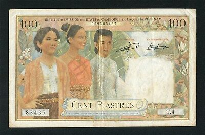 1954 French Indochina Laos Issue 100 Piastre Pick 103