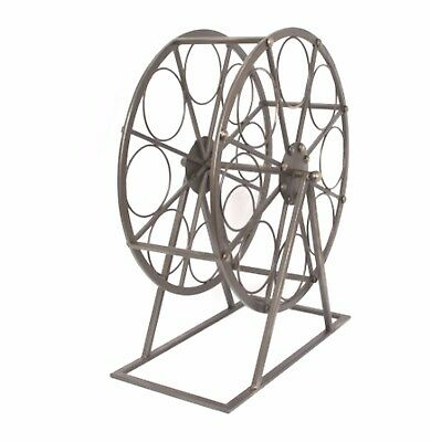 Wine Bottle Rack Storage Holder Round Wagon Wheel Metal Stand Display Decor New