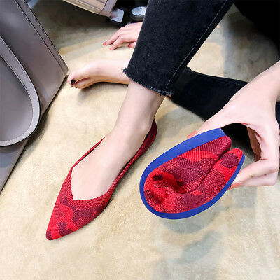 Womens Ballet Flats Shoes Knitted Leisure Pointy Toe Soft Loafers Slip On US